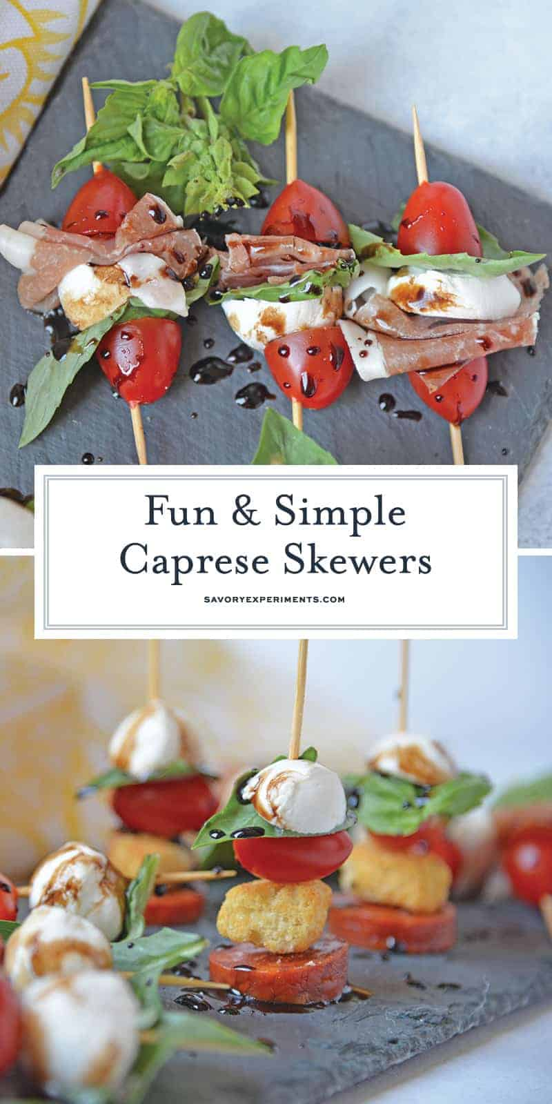 Caprese Skewers are the perfect party appetizer made with fresh mozzarella, basil, tomatoes, garlicky croutons, and zesty pepperoni, all drizzled with a tangy balsamic reduction sauce! #capresesalad #capreseappetizer www.savoryexperiments.com