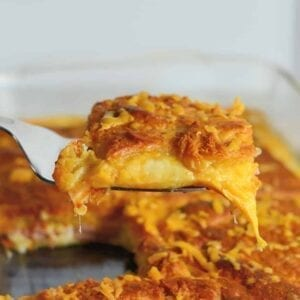 spatula with cheese ham casserole