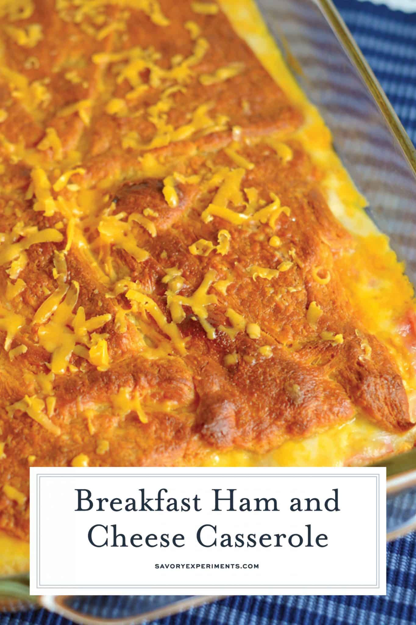 Looking for easy breakfast ideas? This Ham & Cheese Casserole Recipe is an eggless breakfast casserole recipe that uses only 3 ingredients & bakes up in a snap! #hamandcheesecasserole #easycasserolerecipes www.savoryexperiments.com