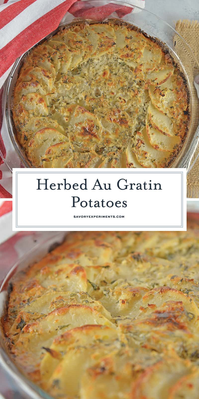 Herbed Au Gratin Potatoes makes the perfect side dish made with layers of thinly cut potatoes, Swiss cheese, shallots, herbs and cream sauce make this beautiful dish delicious as well. #augratinpotatoesrecipe #potatosidedishrecipes www.savoryexperiments.com