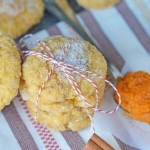 These pumpkin sugar cookies are an easy cookie recipe that can be completed in just under 35 minutes! The perfect cookie to help you celebrate the fall season. #pumpkinsugarcookies #sugarcookierecipes www.savoryexperiments.com