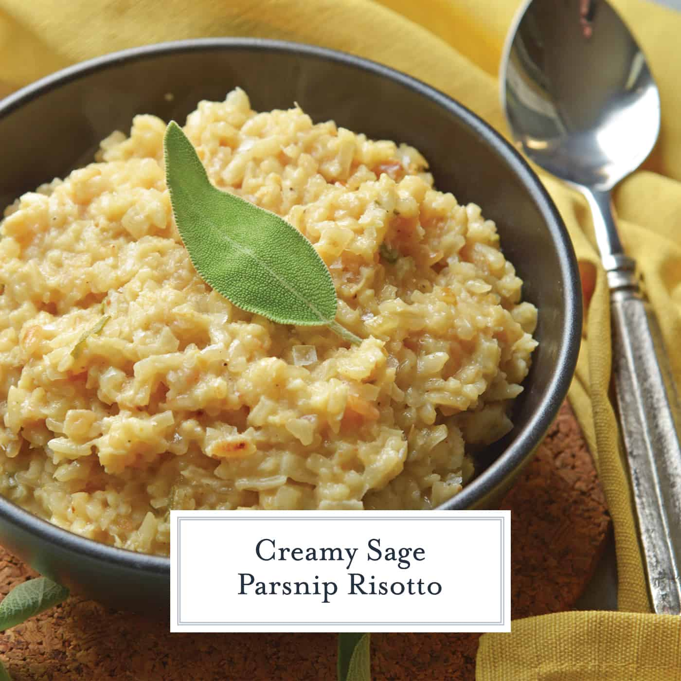 Sage Parsnip Risotto is a vegetarian side dish bursting with flavor. A creamy risotto recipe that uses mascarpone and parmesan cheese. #vegetablerisotto #creamyrisotto www.savoryexperiments.com