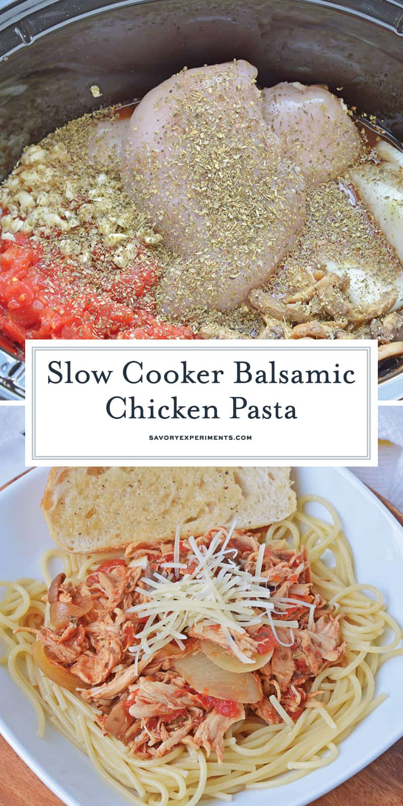 This Slow Cooker Balsamic Chicken Pasta recipe takes 10 minutes to prepare, is healthy and freezer friendly when cooked!#crockpotchickenrecipes #slowcookerbalsamicchicken www.savoryexperiments.com