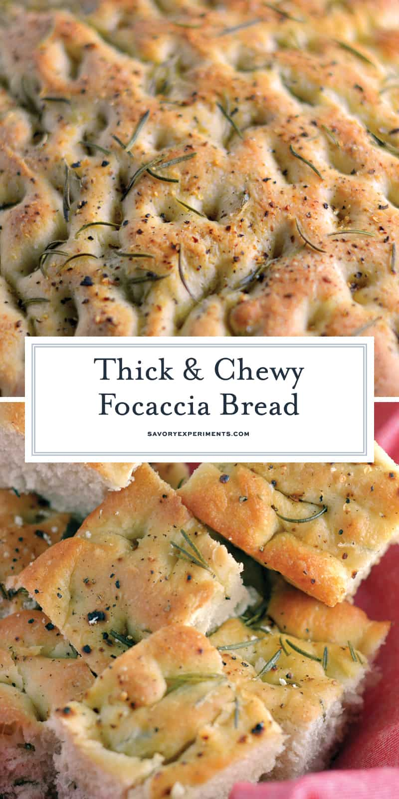 Thick and Chewy Focaccia Bread is a delicious focaccia bread recipe topped with sea salt and fresh herbs, paired with Italian bread dip, it is sure to please! #fococciabread #fococciabreadrecipe #whatisfocaccia www.savoryexperiments.com