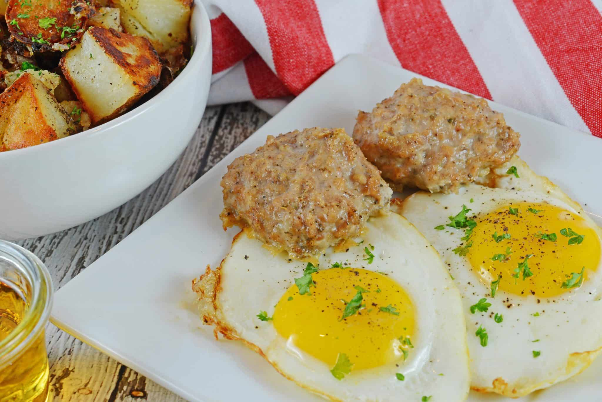 Maple Sage Chicken Sausage is an easy breakfast sausage recipe using a savory sausage spice mix. They can be made ahead of time and frozen! #homemadesausage #breakfastsausage www.savoryexperiments.com