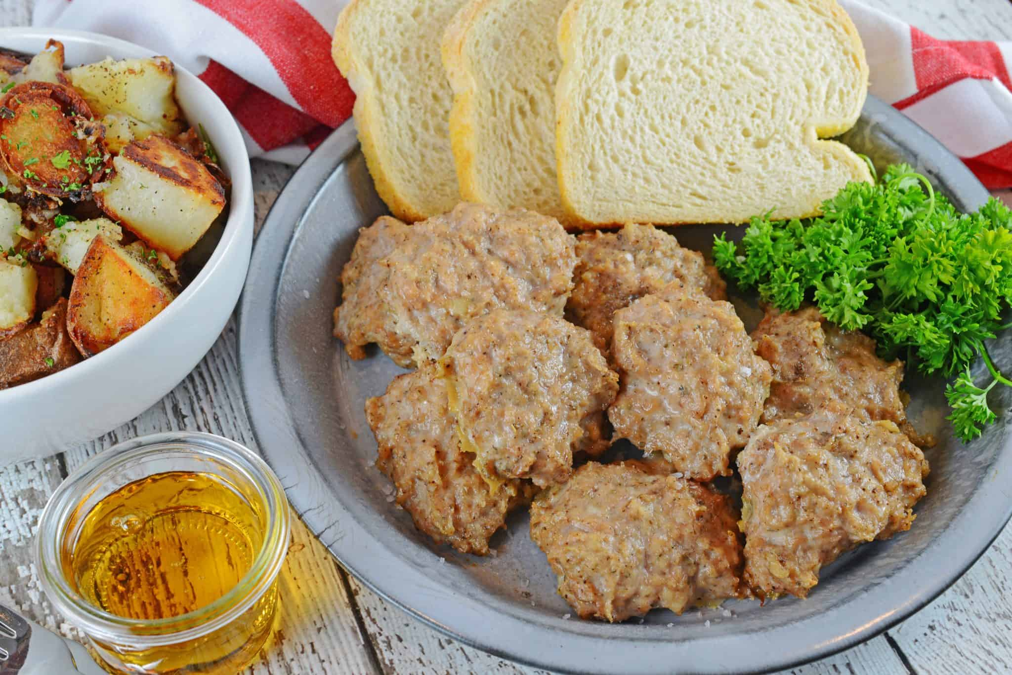 Maple Sage Chicken Sausage is an easy breakfast sausage recipe using a savory sausage spice mix. They can be made ahead of time and frozen!