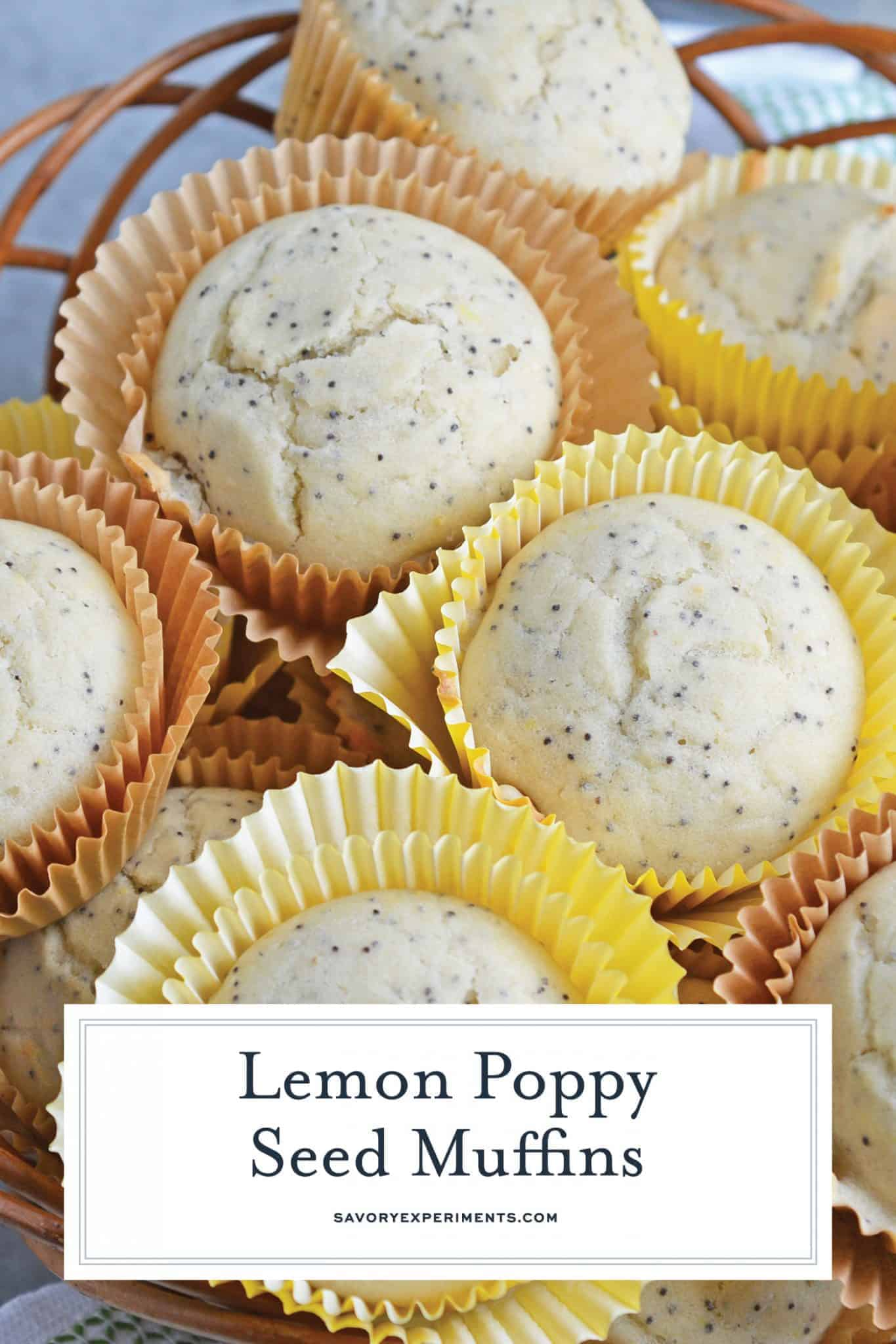 Lemon Poppy Seed Muffins are a quick and easy muffin recipe that can be made in 30 minutes. Carbonated lemon water is the secret ingredient to make them super fluffy! #lemonmuffins #lemonpoppyseedmuffinsrecipe www.savoryexperiments.com