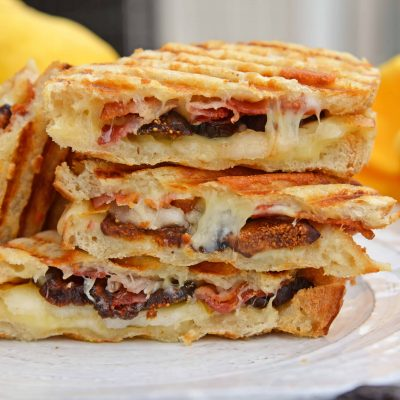 This Bacon, Pear and Fig Grilled Cheese combines sweet, savory and gooey. The ultimate grilled cheese!#gourmetgrilledcheese www.savoryexperiments.com