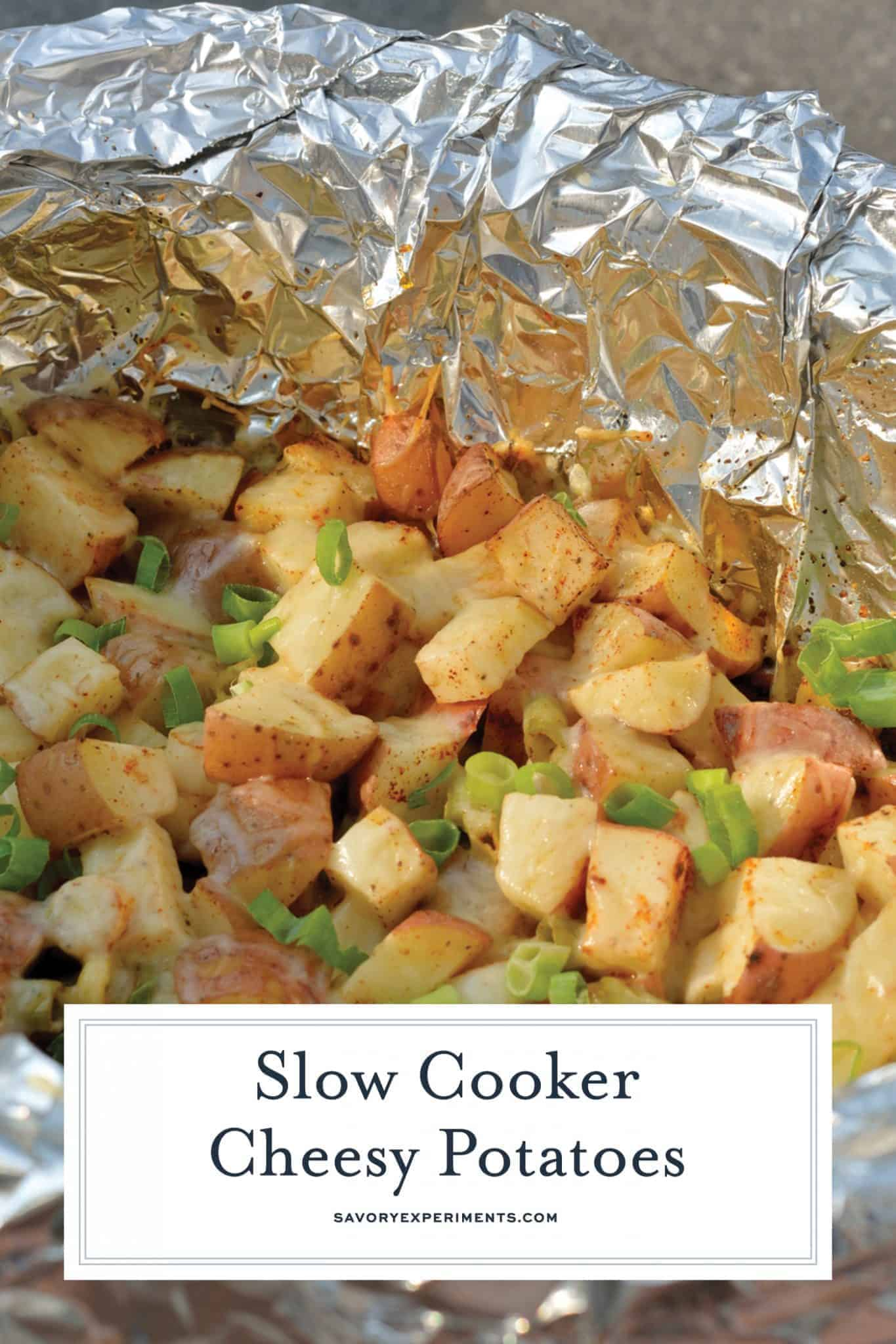 Slow Cooker Cheesy Potatoes stay super moist while cooking and are topped with loads of ooey, gooey CHEESE, bacon and seasoning. #crockpotpotatoes #cheesypotatoes www.savoryexperiments.com