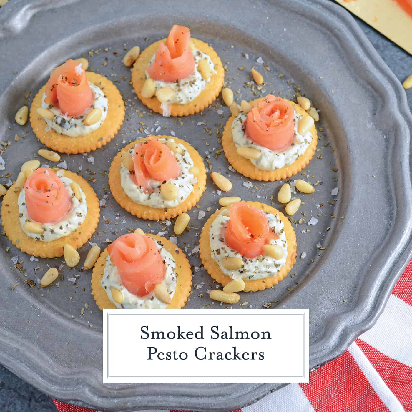 Smoked Salmon Pesto Crackers are an easy no-cook appetizer perfect for any potluck, party, or afternoon snack that everyone will enjoy! #smokedsalmonappetizer #smokedsalmonrecipes www.savoryexperiments.com