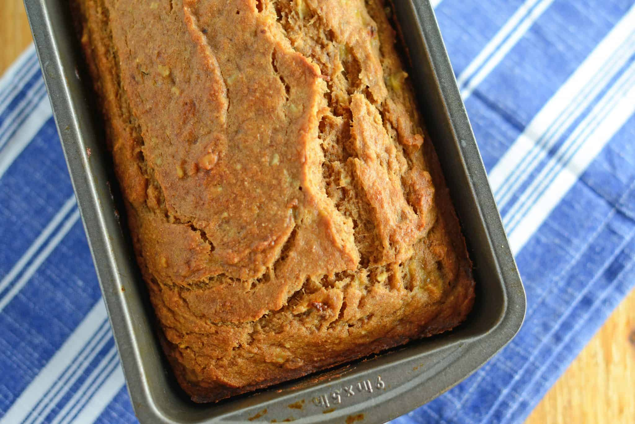 Whole Wheat Banana Bread is a healthier version of regular banana bread. Add pecans or walnuts or even more flavor!