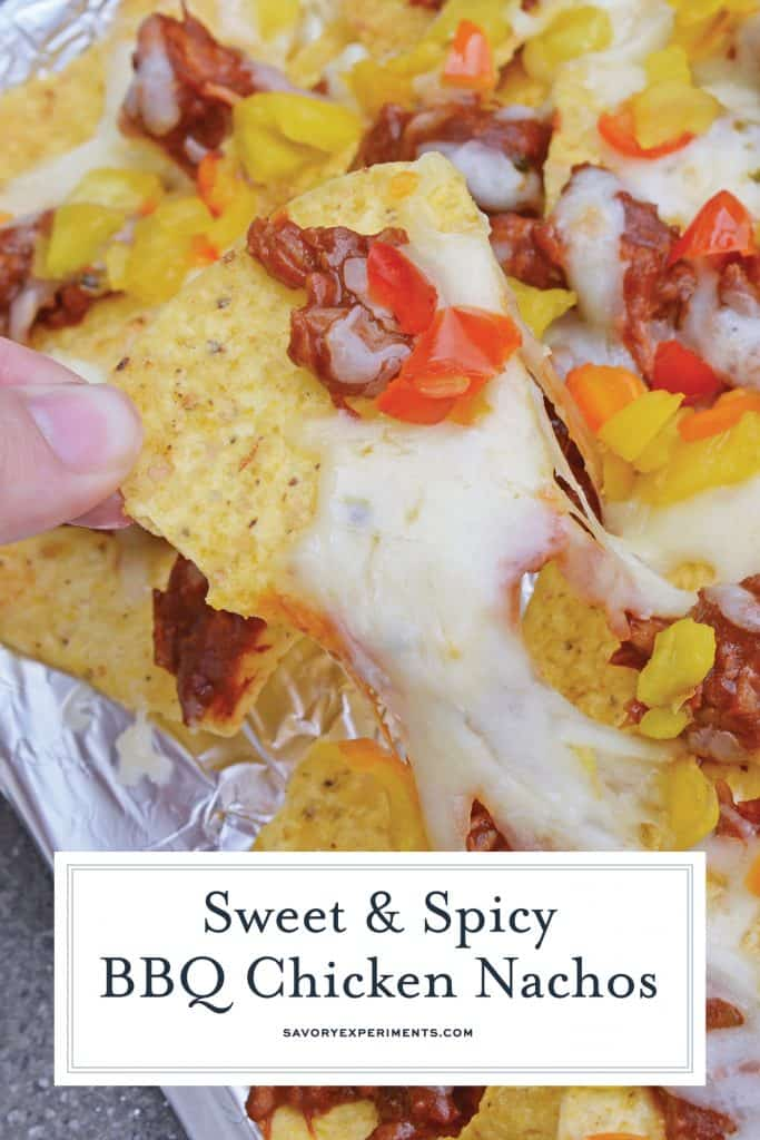 BBQ Chicken Nachos are sweet and spicy nachos that will be ready in 7 minutes with only 4 ingredients! Perfect as a snack, appetizer, or side dish! #nachosrecipes #howtomakenachos #BBQChickenNachos www.savoryexperiments.com
