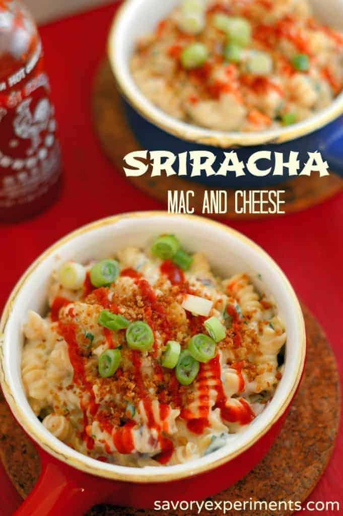 Gouda Mac and Cheese with Sriracha Recipe- creamy, aged gouda with spicy Sriracha | #macandcheese | www.savoryexperiments.com