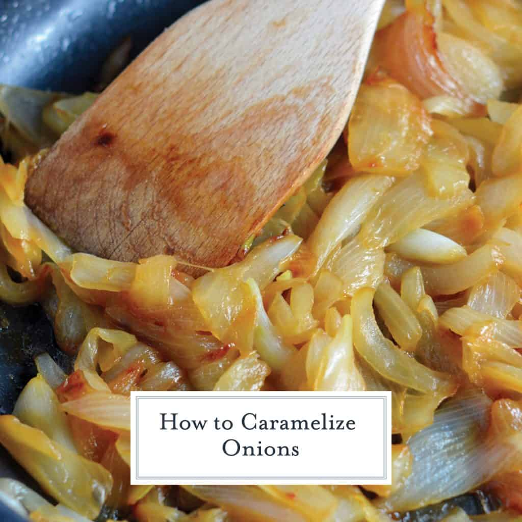 Sweet, sticky and ambre hued caramelized onions are perfect on sandwiches side and more. Learn how to caramelize onions here!  #howtocaramelizeonions #caramelizedonions www.savoryexperiments.com