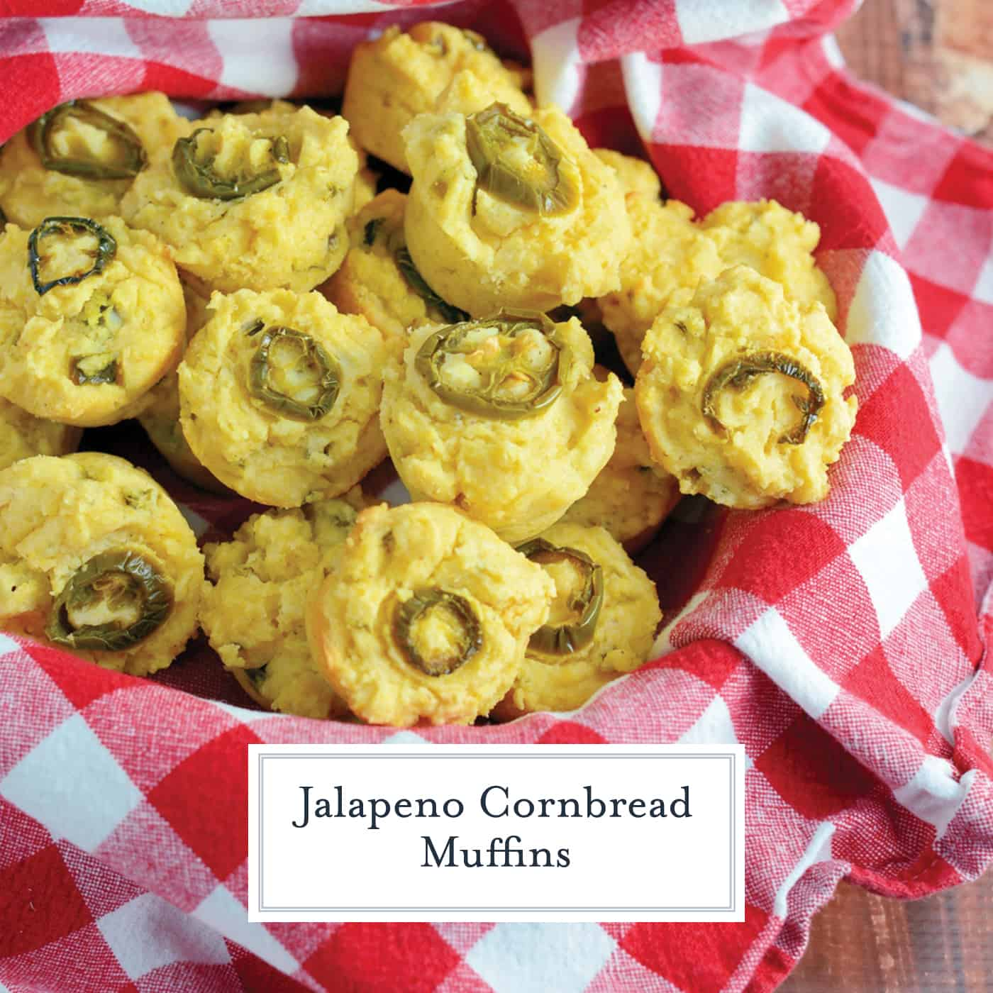Jalapeno Cornbread Muffins are mini-muffins of sweet cornbread with spicy jalapenos. Perfect for serving with any Tex-Mex recipe and the perfect cornbread for chili! #cornbreadrecipes #jalapenocornbread www.savoryexperiments.com