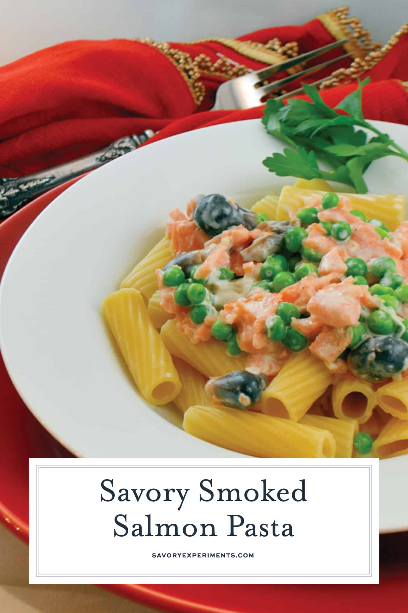 This Smoked Salmon Pasta recipe is a new way to use smoked salmon! You can prepare a delicious dinner in just 25 minutes with only a handful of ingredients. #smokedsalmonpasta #salmonpastarecipe www.savoryexperiments.com