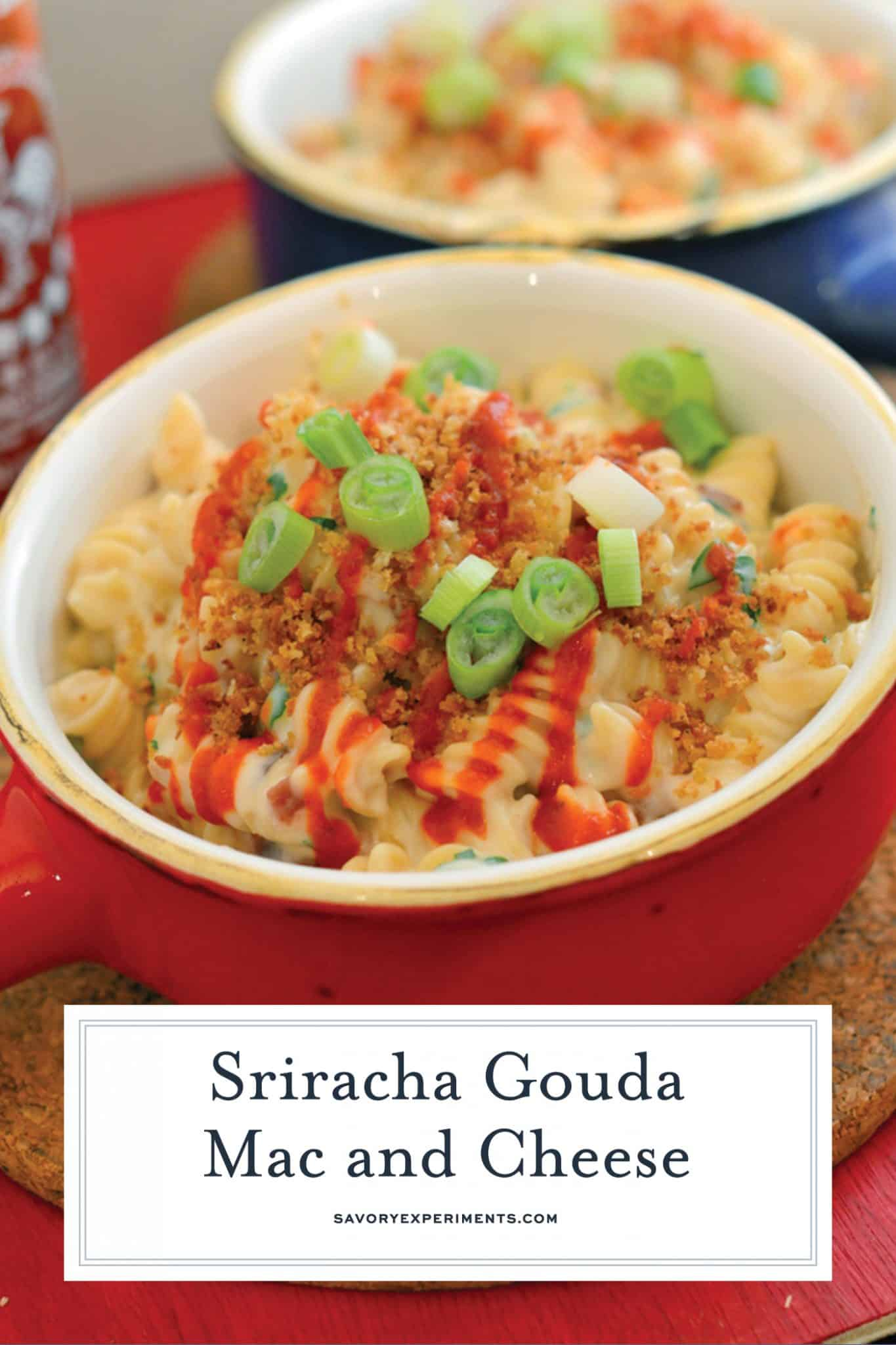 This Sriracha Gouda Mac and Cheese Recipe takes your mac and cheese to new levels with creamy smoked gouda and spicy and sweet Sriracha! #gourmetmacandcheese #creamymacandcheeserecipe #spicymacandcheese www.savoryexperiments.com