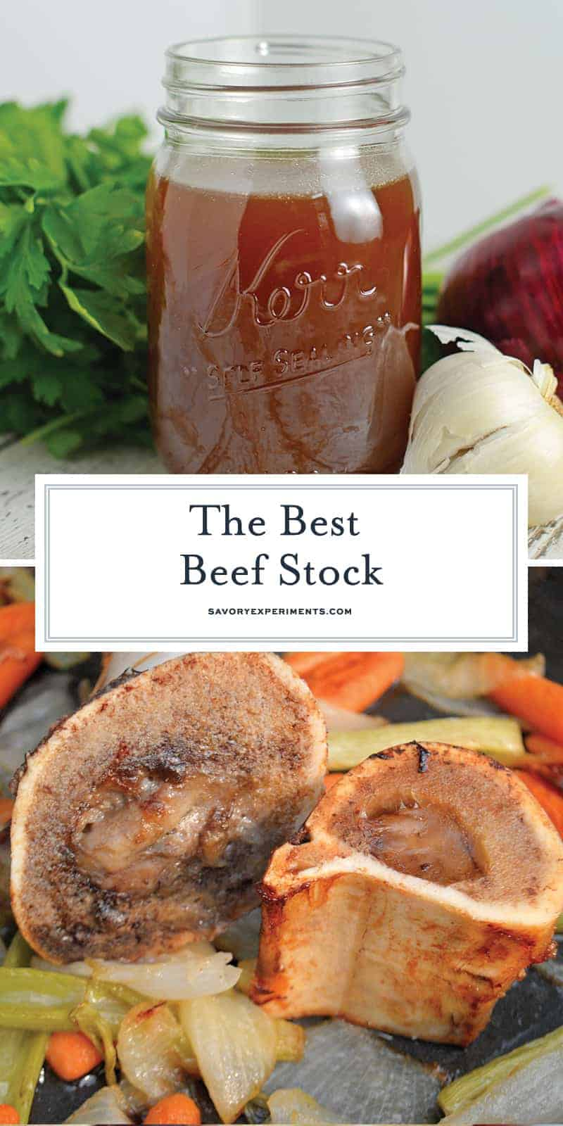 The Best Beef Stock recipe made with herbs and vegetables. Freezer friendly and full of flavor, you'll never buy store bought again! #beefbroth #beefstock #howtomakestock www.savoryexperiments.com