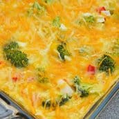 Cheesy Vegetable Breakfast Casserole uses fluffy eggs with broccoli, bell pepper, onion and cheese to make a delightful breakfast that is perfect for feeding a crowd! #vegetablecasserole #breakfastcasserole www.savoryexperiments.com