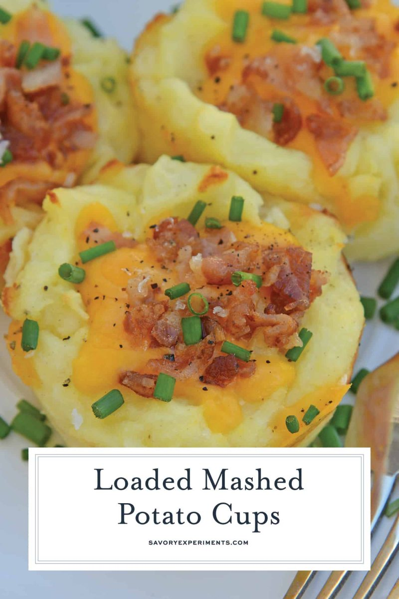 Loaded Mashed Potato Cups are the best way to use leftover mashed potatoes. Mixed with cheese, eggs and a few other ingredients, you load them into a muffin tin and poof, you've got finger food mashed potatoes! #mashedpotatoes #mashedpotatocups www.savoryexperiments.com