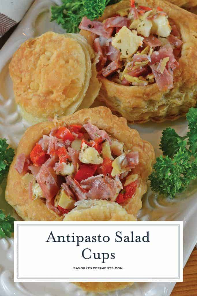 Close up of antipasto salad cups for pinterest