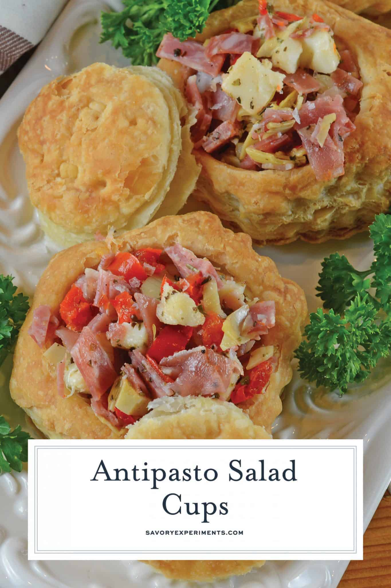 Antipasto Salad Cups are made of chopped salami, prosciutto, sopressata, mozzarella cheese, peppadews and artichokes. The best way to eat salad with your fingers! #nocookappetizers #antipastosalad www.savoryexperiments.com