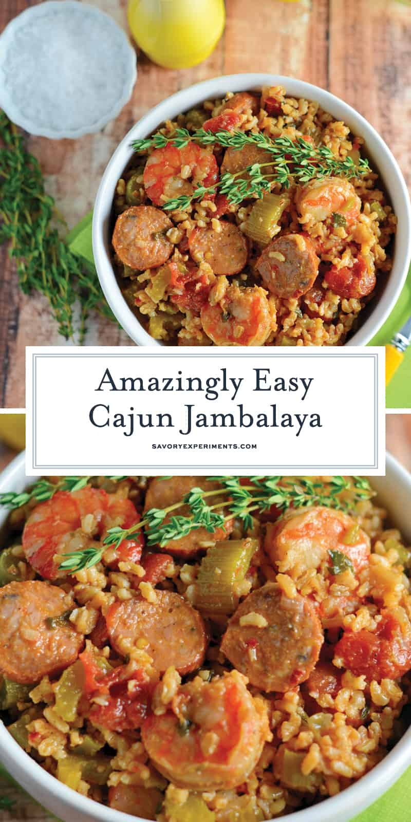 This Cajun Jambalaya is a mouthwatering recipe that can be ready in less than an hour. Andouille turkey sausage and shrimp give this recipe so much flavor! #cajunjambalaya #healthyjambalaya #easyjambalaya www.savoryexperiments.com