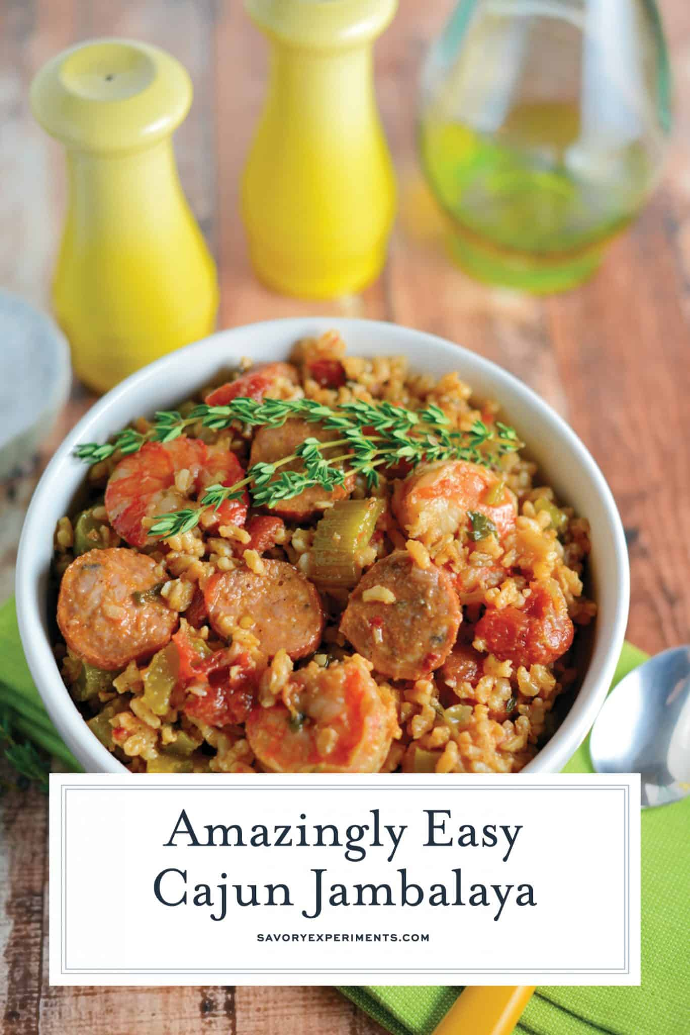 This Cajun Jambalaya is a mouthwatering recipe that can be ready in less than an hour. Andouille turkey sausage and shrimp give this recipe so much flavor! #cajunjambalaya #healthyjambalaya #easyjambalaya www.savoryexperiments.com