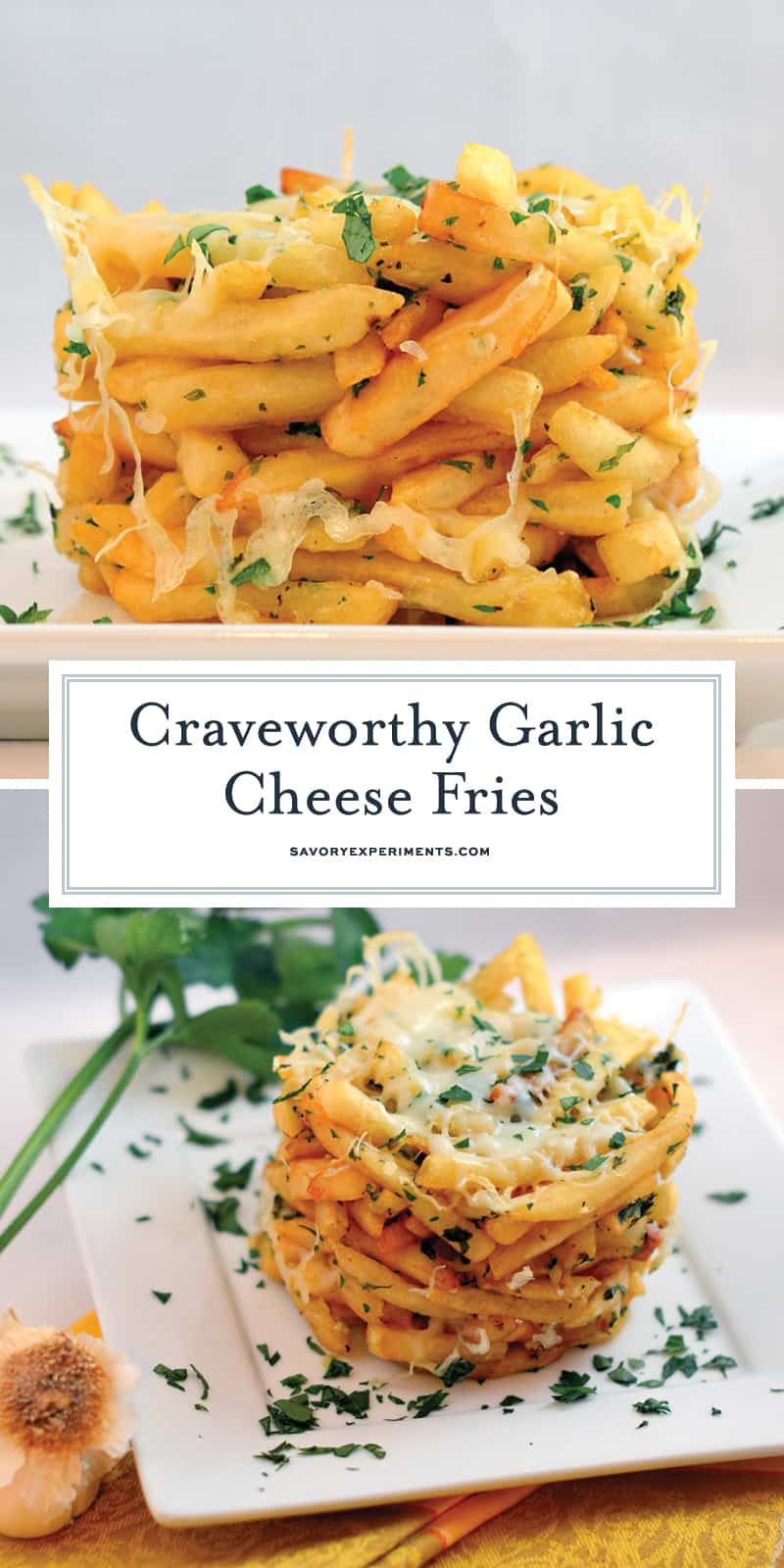 This Garlic Cheese Fries recipe is a stunning tower of cheesy, garlicky, crispy French fries. Make your own in 30 minutes! #cheesefries #ovenbakedfries www.savoryexperiments.com