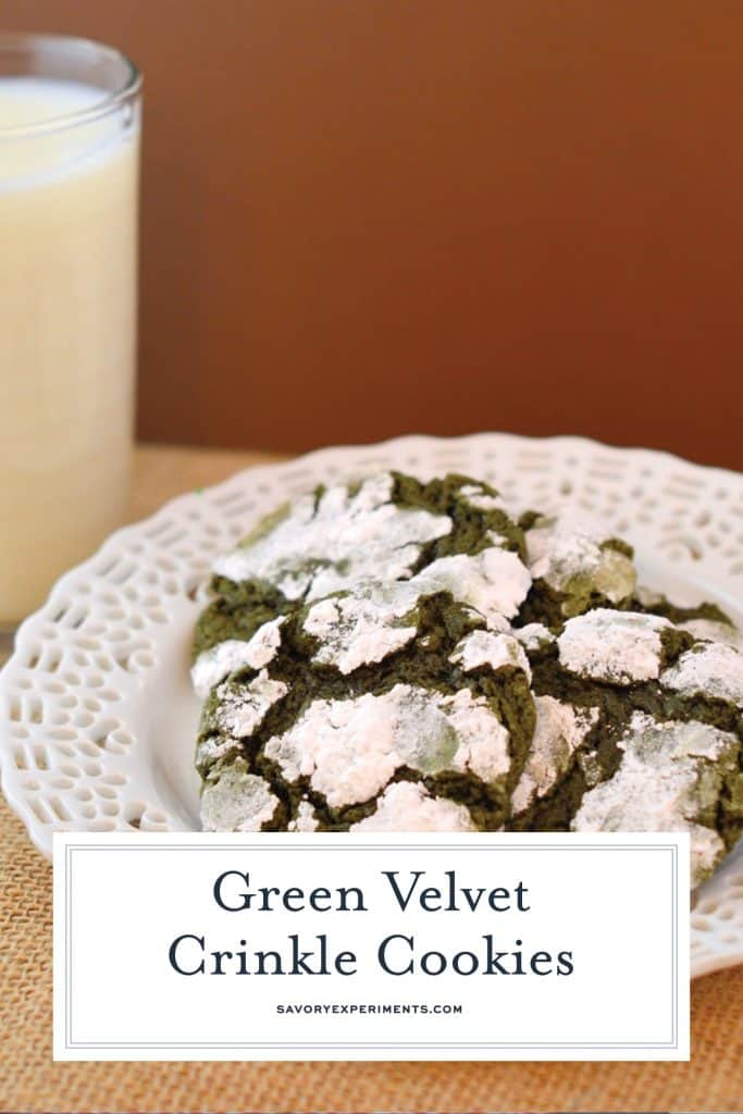 Green Velvet Crinkle Cookies are the perfect easy cookie recipe for St. Patrick's Day or any other green themed party! #greencookies #cookiesforstpatricksday www.savoryexperiments.com
