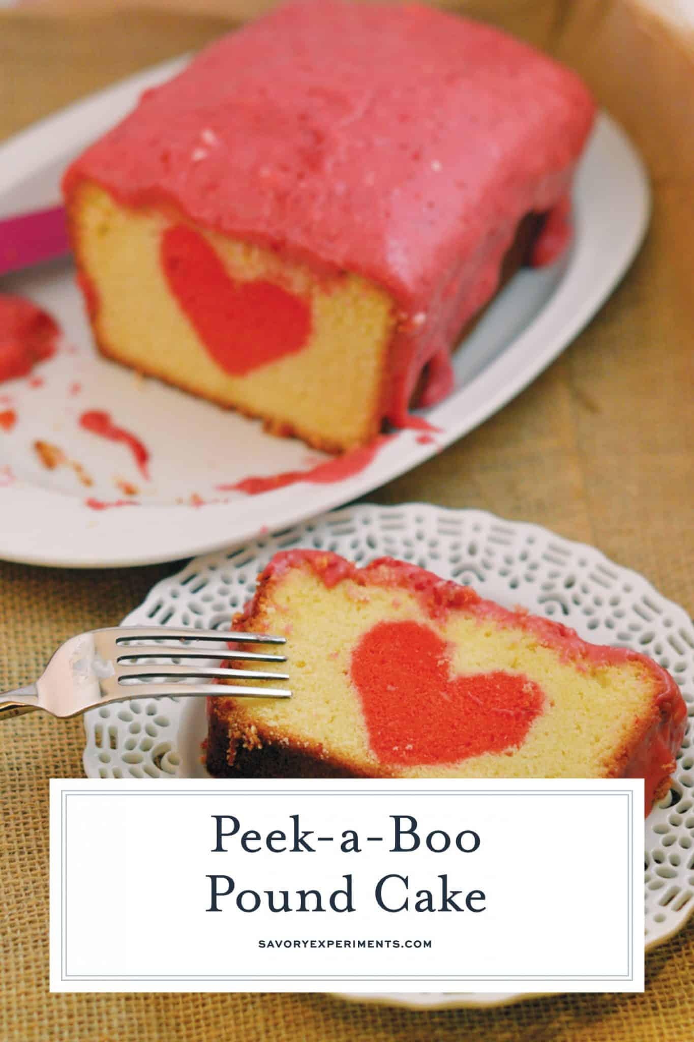 Peek-a-Boo Pound Cake is a vanilla pound cake with surprise center and raspberry cream cheese frosting using real raspberries! #valentinesdaycake #peekaboocake #poundcakerecipe www.savoryexperiments.com