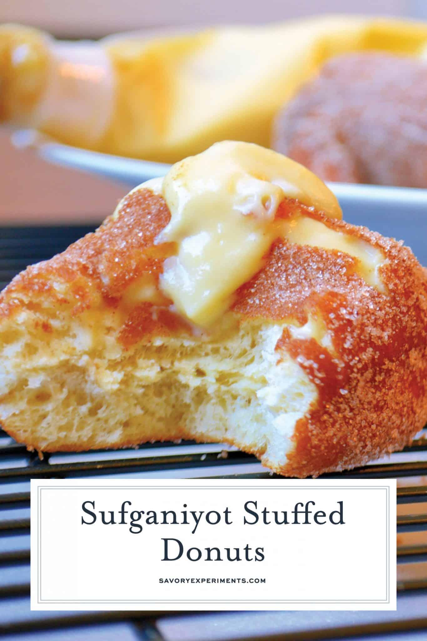 Sufganiyot Stuffed Donuts let you prepare warm & fresh strawberry jelly & vanilla custard stuffed donuts at home! Light & fluffy dough with a hint of sugar! #donutrecipe #stuffeddonuts #easysufganiyotrecipe www.savoryexperiments.com