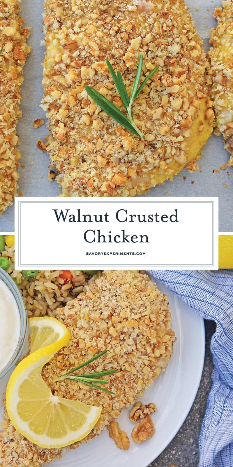 Walnut Crusted Chicken is a deliciously healthy, crunchy chicken with a cool dipping sauce! Made with chopped walnuts, panko bread crumbs, and fresh rosemary! #walnutcrustedchicken #rosemarychicken www.savoryexperiments.com