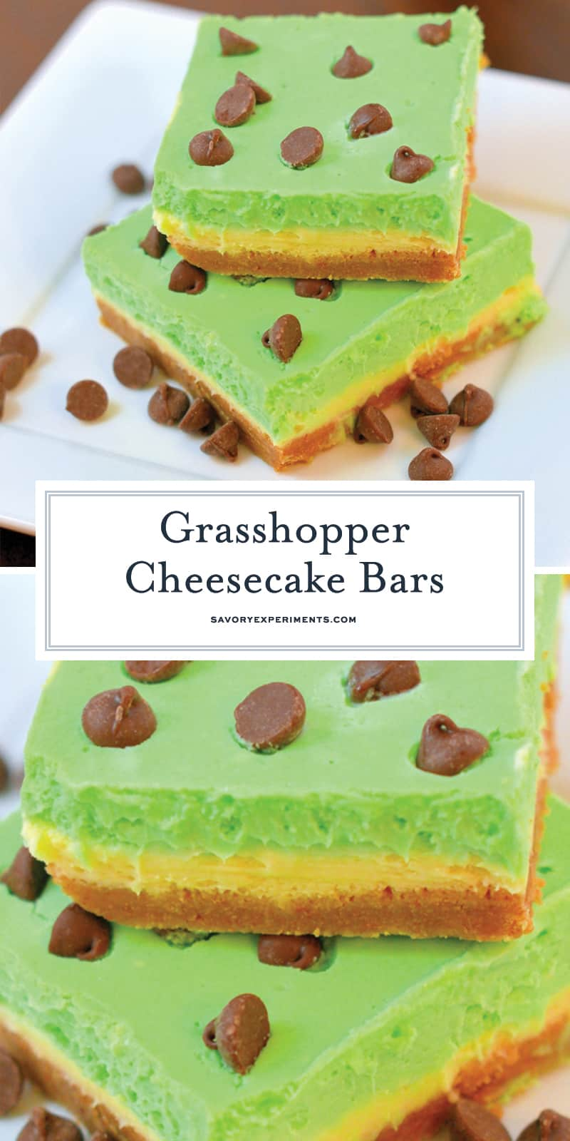 Grasshopper Cheesecake Bars are the perfect St Patrick's day dessert. Green and minty, they are easy to make and delicious to eat! #cheesecakebars #cheesecakebarsrecipe www.savoryexperiments.com