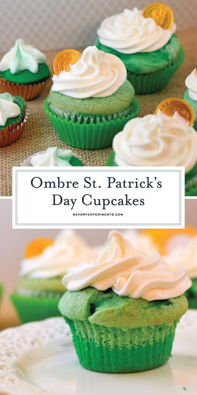 St. Patrick's Day Cupcakes in ombre style. Three shades of green and a whipped frosting. Perfect for your St. Patrick's Day Party! #stpatricksdaycupcakes #stpatricksdaydessert www.savoryexperiments.com