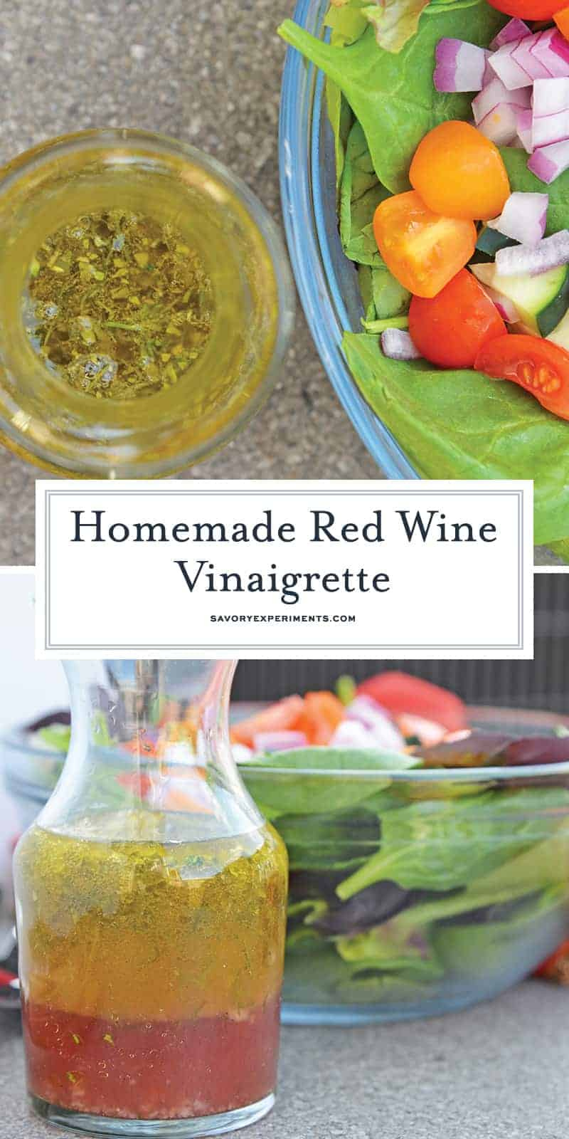 This Red Wine Vinaigrette is a deliciously easy homemade salad dressing recipe, taking only a fraction of the time it takes for you to chop up a salad! #vinaigretterecipe #redwinevinaigrette #vinaigrettedressing www.savoryexperiments.com