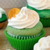 St. Patrick's Day Cupcakes in ombre style! Three shades of green and a whipped frosting. Perfect for your St. Patrick's Day Party!