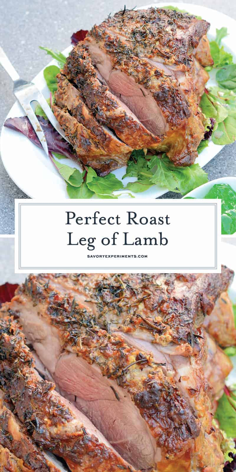 Leg of Lamb is an easy lamb recipe using a layer of fresh herbs and seasonings and high temperatures sear to form a nice crust leaving the instead nice and juicy. #legoflamb #roastlamb #easterlamb www.savoryexperiments.com