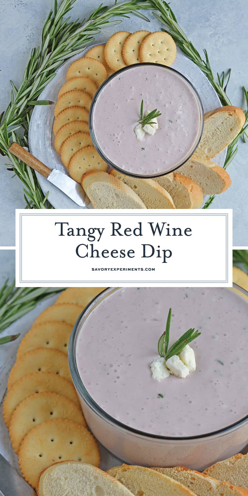 This Red Wine Cheese Dip is a snack or appetizer dip that blends flavors of caramelized onions, rosemary, red wine, honey and cream cheese. The perfect dip for crackers! #redwinecheesedip #creamcheesedip #cheeseandcrackers www.savoryexperiments.com