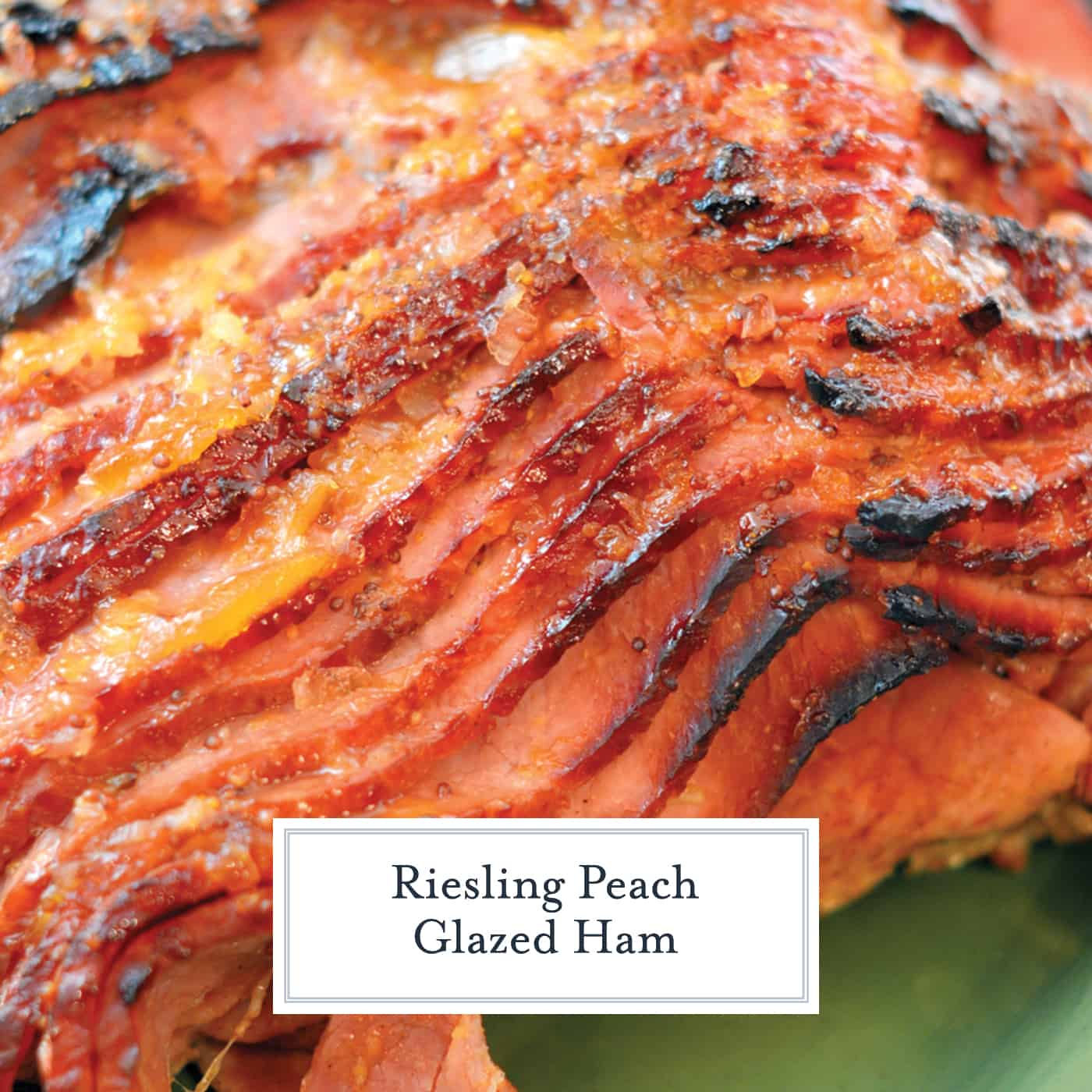 A close up of glazed ham