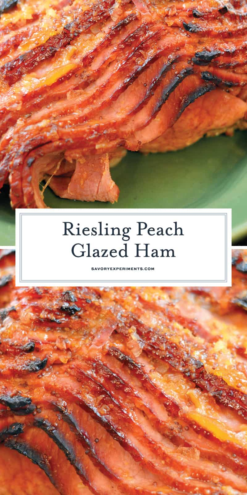 This Riesling Peach Glazed Ham Recipe is a beautifully caramelized baked ham with peach brown sugar glaze. This glazed ham feeds a crowd and is easy to make! #hamrecipes #hamglaze #bakedham www.savoryexperiments.com