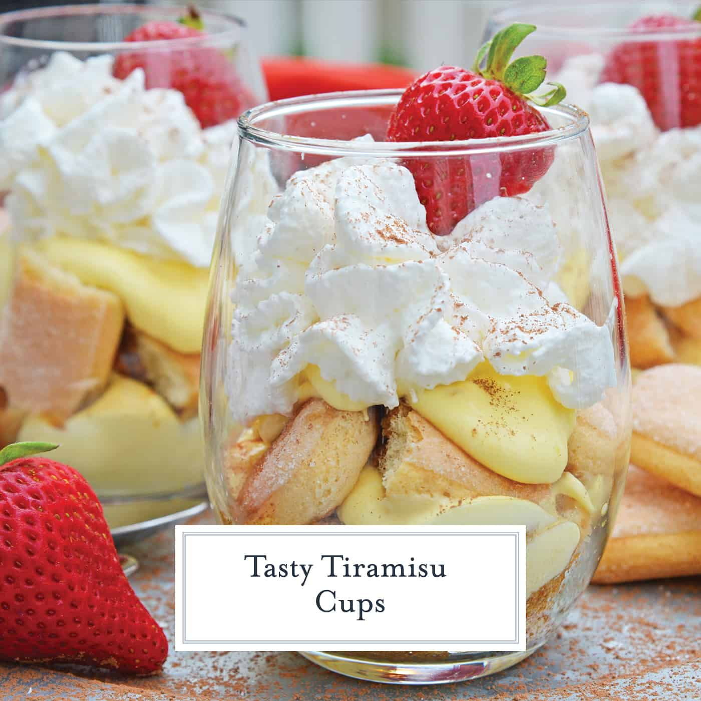 Tiramisu Cups are an easy, make-ahead dessert recipes layering mascarpone custard with espresso soaked lady finger cookies and whipped cream. #easytiramisurecipe #tiramisucups www.savoryexperiments.com