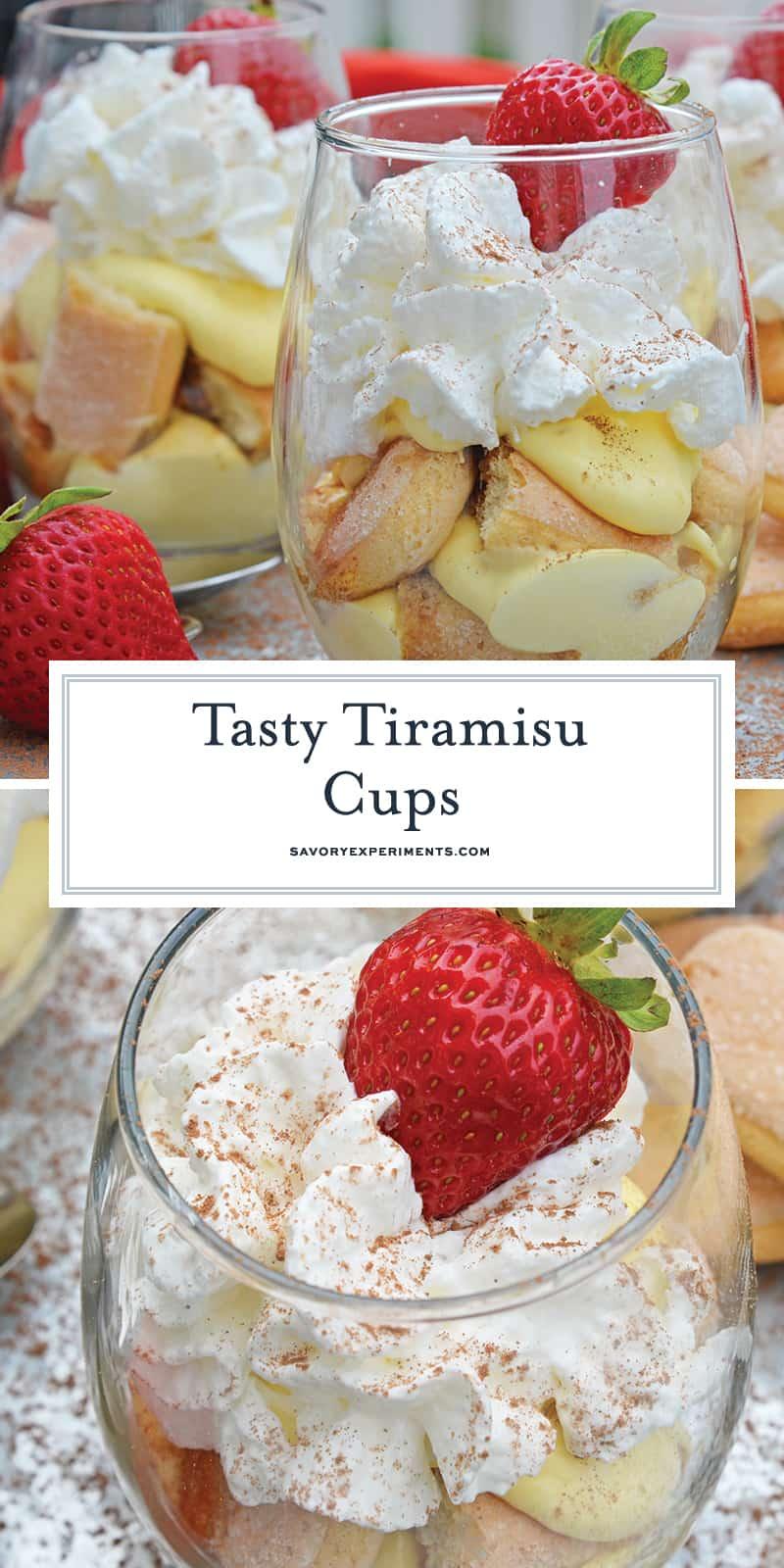 Tiramisu Cups are an easy, make-ahead dessert recipes layering mascarpone custard with espresso soaked lady finger cookies and whipped cream. #easytiramisurecipe #tiramisucups www.savoryexperiments.com
