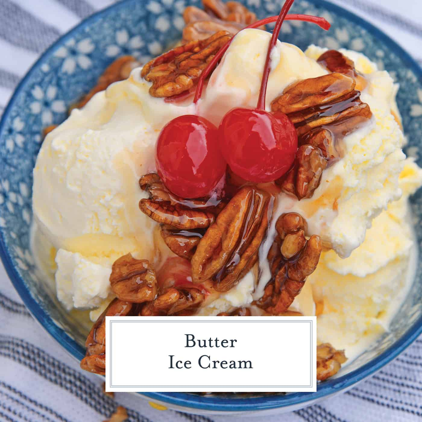 butter ice cream with pecan topping and cherries