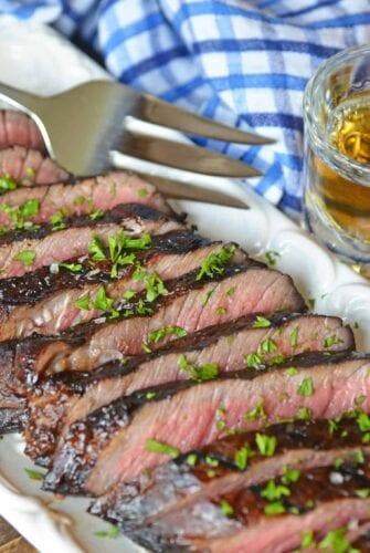 Sliced sirloin steak