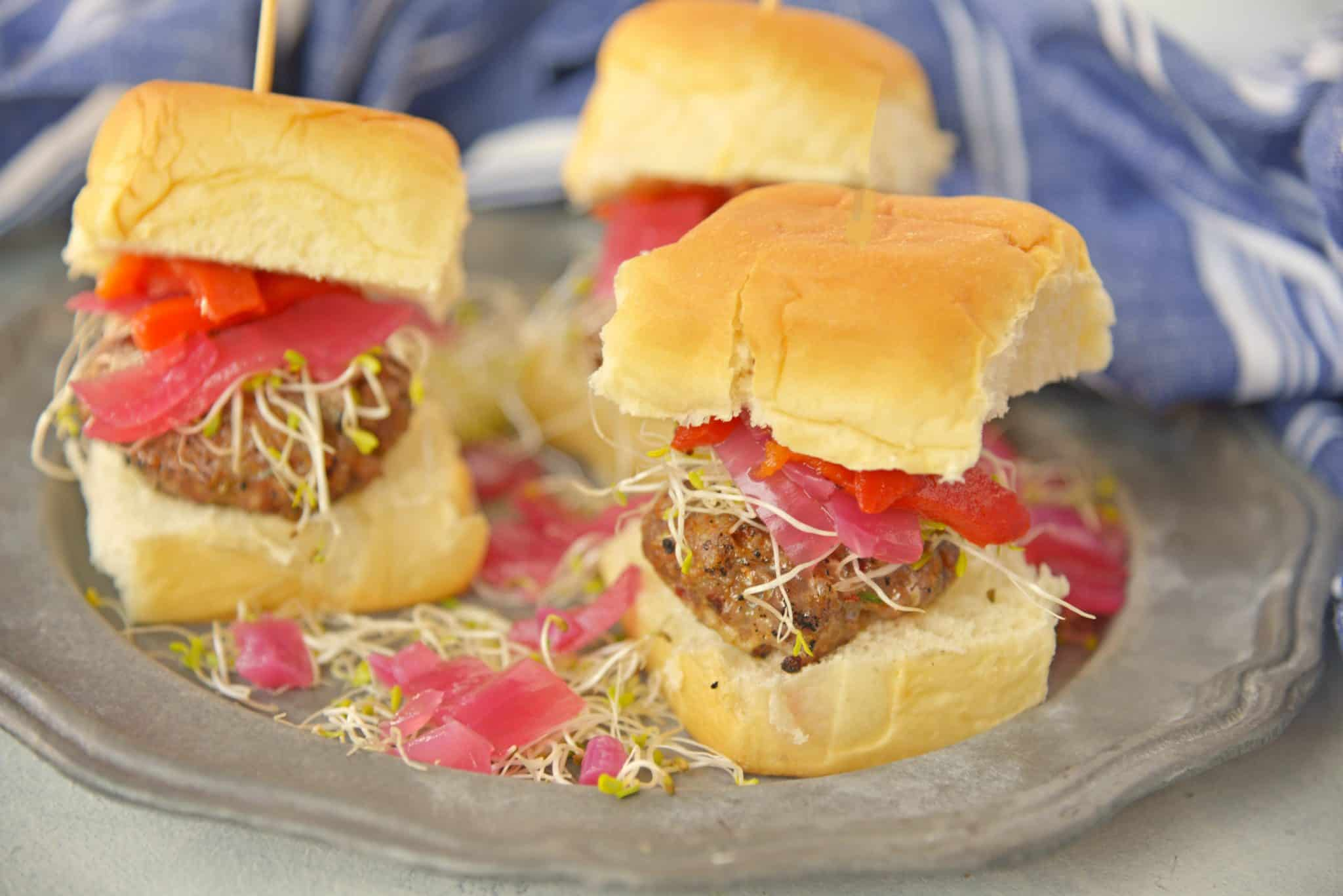 These Italian Sausage Sandwich Sliders are easy to prepare and even easier to eat. Featuring pork sausage and Hawaiian rolls,they are sure to impress.
