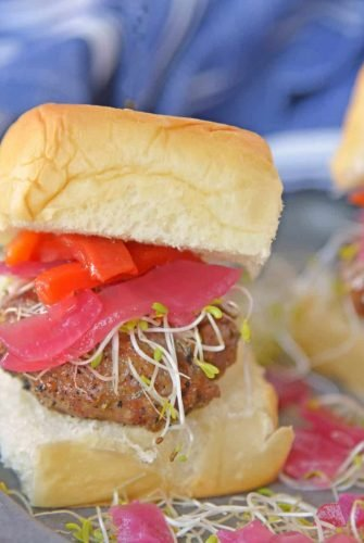 These Italian Sausage Sandwich Sliders are easy to prepare and even easier to eat. Featuring pork sausage and Hawaiian rolls, they are sure to impress. #italiansausagesandwichsliders #hawaiianrollsliders www.savoryexperiments.com