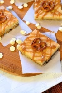 Pretzel Crusted White Chocolate Brownies with Salted Caramel Drizzle