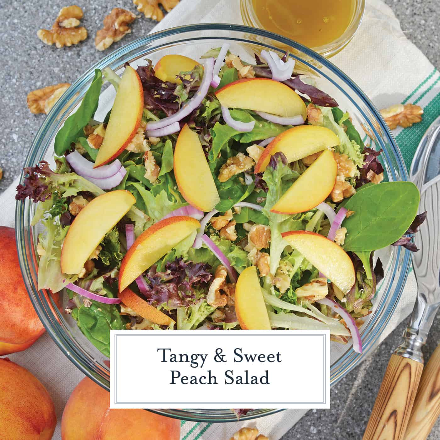 Peach Salad is a scrumptious summer salad filled with delicious peaches, gorgonzola cheese, shallots, candied walnuts and a tangy peach dressing. The perfect summer salad! #peachsalad #summersalads www.savoryexperiments.com