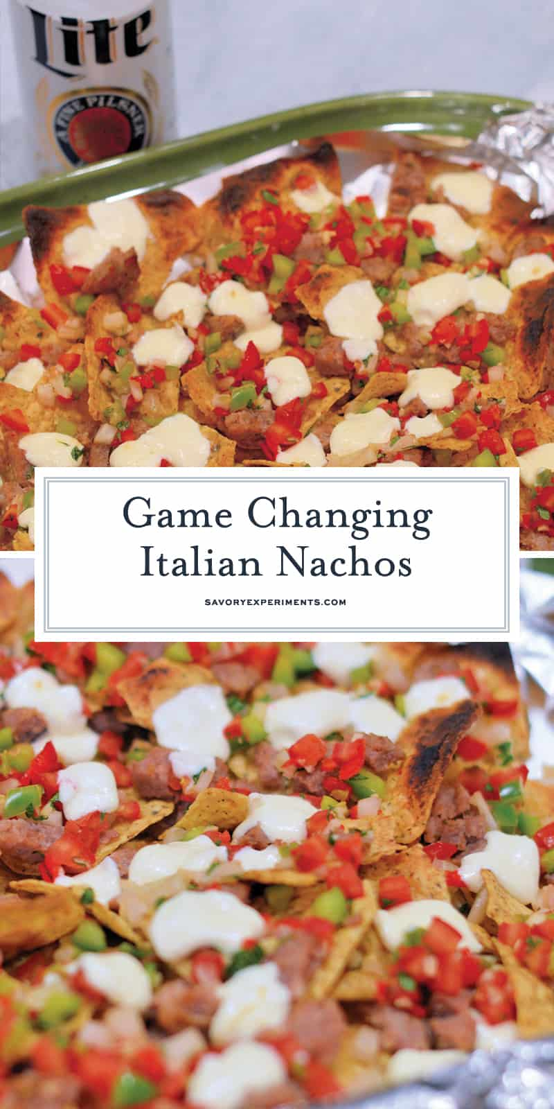 Italian Nachos are a new twist on an old favorite. Crunchy, spicy, and loaded with toppings, these are about as addictive as they come. #italiannachos #nachos www.savoryexperiments.com